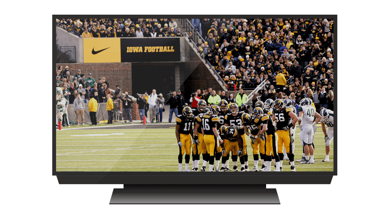 large tv displaying iowa football