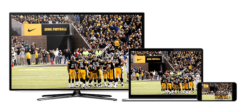 screens showing iowa football on display